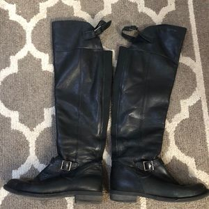 Aldo to the knee black leather boots 8.5